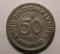 50 Pfennig Münze 1949 Kennzeichnung - J - Selten Gebraucht !TOP! 50PF K-1388