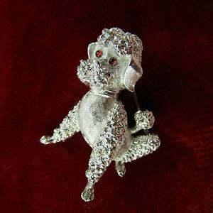 Vintage Brooch TRIFARI Poodle Dog Silver Tone Red Rhinestone Eyes Pin 1.75 inch