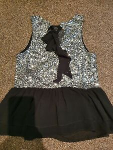 Womens Size 12 Black Silver peplum Party Occasion Top New Look