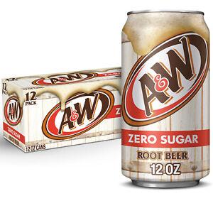 A&W Root Beer ZERO (24 pack) 355mL Sugar Free Soda Drink American Import