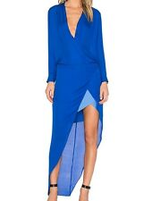 Michelle Mason long sleeve gown with contrast slip | blue | size 2
