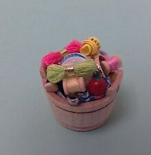 Dollhouse miniature 1:12 Handcrafted sewing bucket, thread scissors tape measure