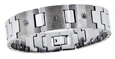 Men's Diamond Tungsten Bracelet  . Brushed & Shiny Polished Tungsten