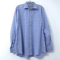 Charles Tyrwhitt Men's Slim Fit Size 17-35 Blue Plaid Dress Shirt Long Sleeve