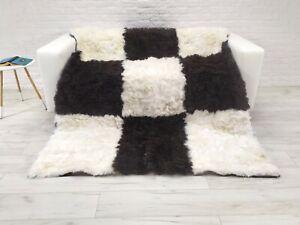 Icelandic Patchwork Sheepskin Throw Rug Genuine Soft Fur Natural Shaggy D07