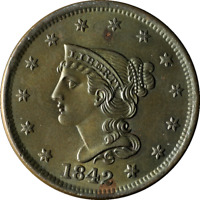 1842 Large Cent Large Date Gem BU Details Superb Eye Appeal Strong Strike