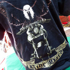 Ride Hard American Bald Eagle Riding Motorcycle Chrome Mens TShirt Sz XL Black