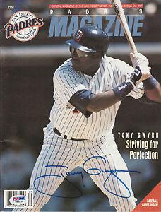 TONY GWYNN SIGNED AUTO'D SEP/OCT 1991 PROGRAM PSA/DNA COA SAN DIEGO PADRES HOF