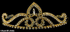 Tiara Gold Metal & Rhinestone  Princess Queen Or Debutante Costume Headpiece