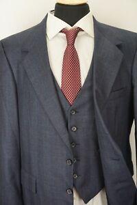 Tom James Gray Multicolor Windowpane 100% Wool 3 Piece Suit Sz 42S