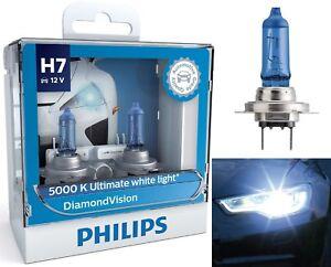 Philips Diamond Vision White 5000K H7 55W Two Bulbs Head Light Low Beam Lamp OE
