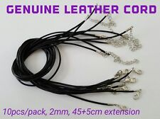 Lot 10pcs 45cm+ Genuine Leather Cord Chain Choker Necklace Lobster Clasp DIY