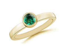 Natural Zambian Emerald 1.10Ct Round Shape Solitaire Ring In 14KT Yellow Gold