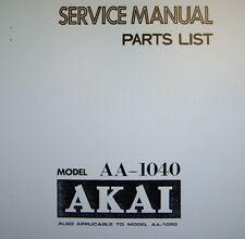 AKAI aa-1040 aa-1050 Stereo Receiver Service Manual inkl. Schems gedruckt Englisch