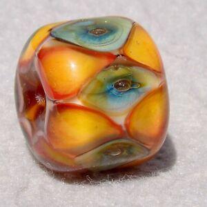 DRUMROLL #1 Handmade Art Glass Focal Bead Flaming Fools Lampwork Art Glass SRA