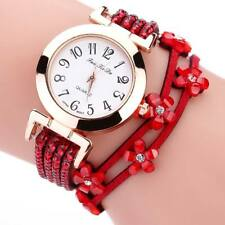 Luxury Women Ladies Quartz Analog Bracelet Party Rhinestone Leather Wrist Watch