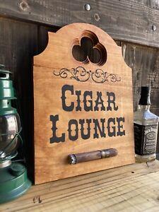 Cigar Lounge Whiskey Bar Saloon Wood Sign Raised Rustic Tavern Antique Look