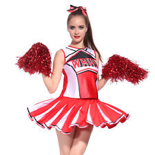 Ladies Cheerleader Fancy Dress Outfit Uniform with Pom Poms Halloween Costume