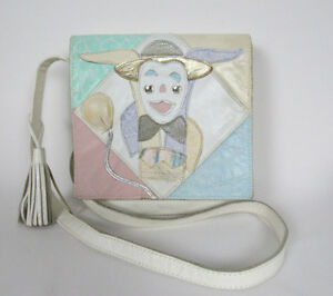 """VINTAGE 1970s BAGS BY PINKY LEATHER SHOULDER / CROSS BODY BAG JESTER BALLOON 8"""""""