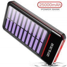 RLERON 25000mAH Portable Phone Charger Solar Power Bank External Battery with