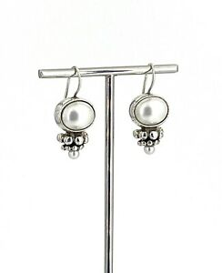 Vintage .925 Sterling Silver & Double Faux Pearl Bead Cluster Trim Wire Earrings