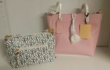 Emma Fox Savannah Leather Tote and Crossbody Handbag SET in Pink Multi