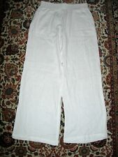NWT BARNEYS NEW YORK White Crinkle Cotton Wide Leg Beach Pants Pockets  M