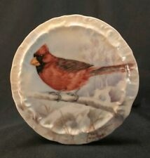 Early 20th C Hand Painted Red Cardinal Porcelain Wall Plate Signed Dee Blackburn