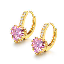 Vintage Pink Topaz Crystal Heart Shape Leverback Huggie Earrings 18K Gold Filled