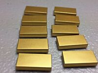 NEW LEGO 1X2 TILE WITH GROOVE METALLIC GOLD (x10) 3069B GOLD FINISHING TILES
