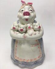 Vintage Mama Pig in Kerchief Holding 4 Piglets Cookie Jar