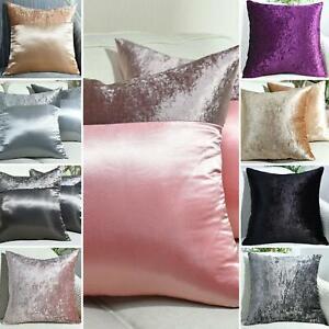 "Crushed Velvet Cushion Covers Plain OR Faux Silk 17""X17"",20""X20"",22""X22"",24""X24"""