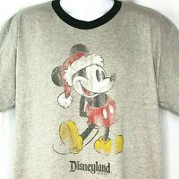 Mickey Mouse Santa Christmas Retro Distressed Ringer T-Shirt XL Mens Disneyland