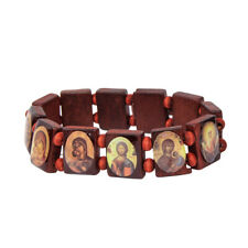 Stretch Elastic Brown Wood Bracelet with Images of Saints from Holy Land