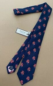 Thomas Pink Tie Navy & Pink Tote Flower Woven in England Made in Spain Lined NWT