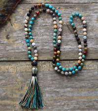 7 Stone Imperial Jasper Mala Beaded long Tassel Necklace Boho Chakra Lava Rock