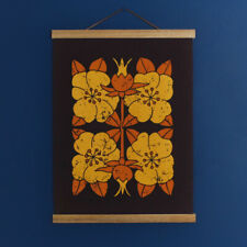 Vintage 1960s 70s Brown & Yellow Flower Fabric Wall Hanging - Signed Retro