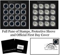 2017 Total Eclipse of the Sun COLLECTOR SET. Stamps. Sleeve, First Day Cover.