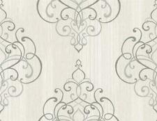 Wallpaper Designer Textured Ink Gray Scroll Damask on Light Gray Faux