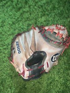 "Custom Wilson A2000 1791 32.5"" Catchers Mitt Baseball Glove Red White Navy"