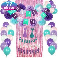 77pcs Mermaid Party Supplies Birthday Decoration Set Banner Paper Poms Balloon