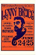 Lenny Bruce Mothers 1966 Fillmore Concert Postcard Handbill BG-13 Wes Wilson Art