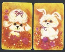 #920.719 Blank Back Swap Cards -MINT pair- Fluffy white dogs, orange background