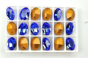 6 Swarovski 14x10mm Sapphire Oval Shape Crystal Rhinestones -V4212