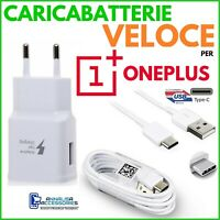 CARICABATTERIE VELOCE FAST CHARGER per ONEPLUS 2 PRESA USB + CAVO TIPO TYPE C
