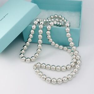 "36"" Rare Tiffany & Co Sterling Silver HardWear 10mm Bead Ball Necklace"