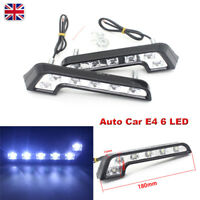 2x Bright White 7 Shape 6 LED Car Daytime Running Light DRL Day Driving Fog Bulb