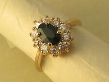 Black Sapphire Cluster Vintage Royal Style EP Gold Diamond Engagement Ring
