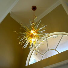 Blown Glass Chandelier - Lighting - Art Glass Lighting - Amber Teal Chandelier