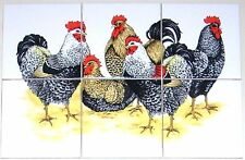 "Chicken Rooster Ceramic Tile Mural 6pcs 4.25""   Kiln Fired Decor Black Speckled"